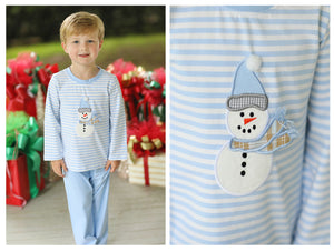 Knit Snowman Applique Light Blue Stripe Pant Set
