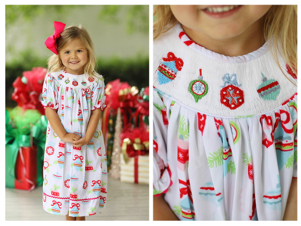 Ornament Smocked Bishop Dress