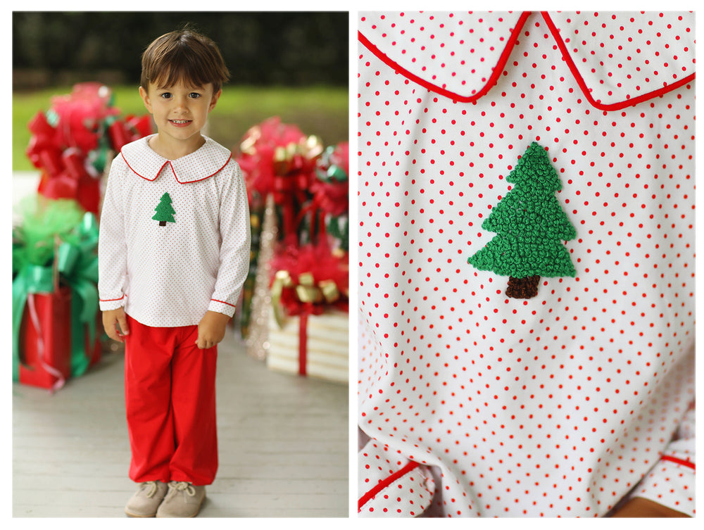 Load image into Gallery viewer, Knit Christmas Tree French Knot Embroidered Red Bitty Dot Bubble Pant Set