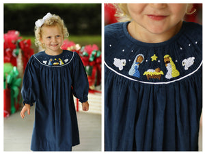 Load image into Gallery viewer, Nativity Smocked Navy Corduroy Bishop Dress