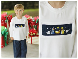 Nativity Smocked Navy Corduroy Pant Set