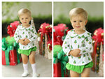 Christmas Tree Knit Collared Top Green Corduroy Diaper Set