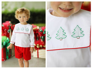 Christmas Tree Shadow Embroidered Red Pique Short Set