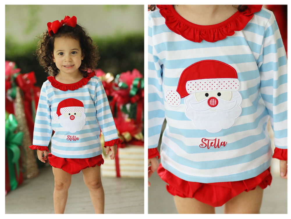Load image into Gallery viewer, Knit Santa Applique Blue Stripe Ruffle Bloomer Set