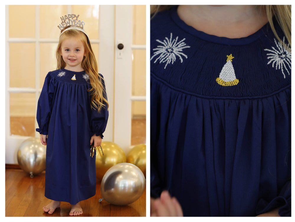 New Year's Eve Smocked Navy Pique Bishop Dress