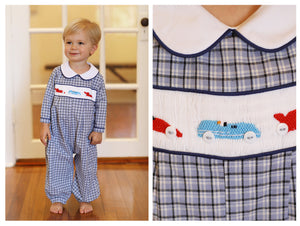 Race Car Smocked Blue Plaid Long Bubble