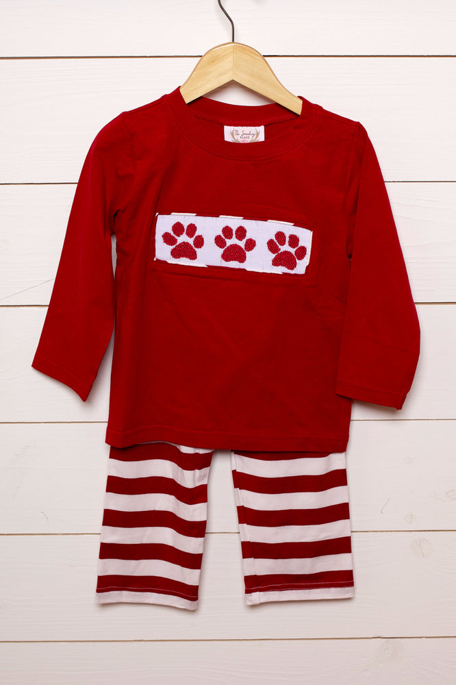 Load image into Gallery viewer, Paw Print Smocked Knit Striped Pant Set