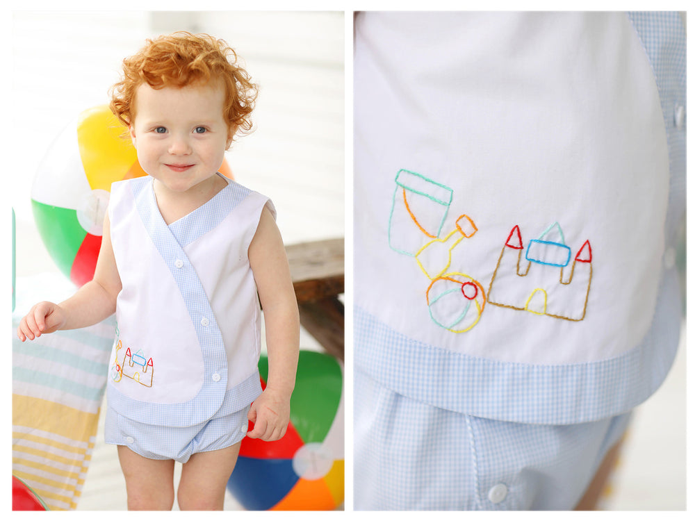 Beach Embroidered Blue Gingham Diaper Set