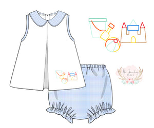 Beach Embroidered Blue Gingham Girl Bloomer Set