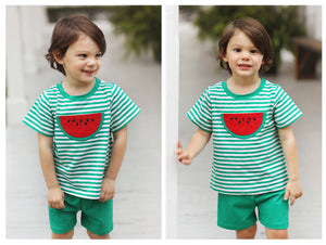 Load image into Gallery viewer, Knit Watermelon Applique Green Stripe Boy Short Set