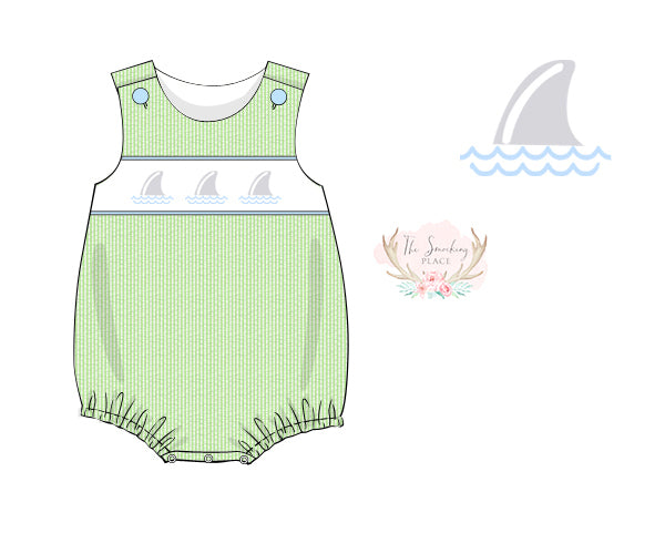 Shark Smocked Green Seersucker Bubble