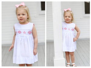 Seashell Smocked White Pique Pink Trim Dress
