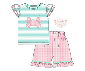 Crab Applique Pink Gingham Ruffle Short Set