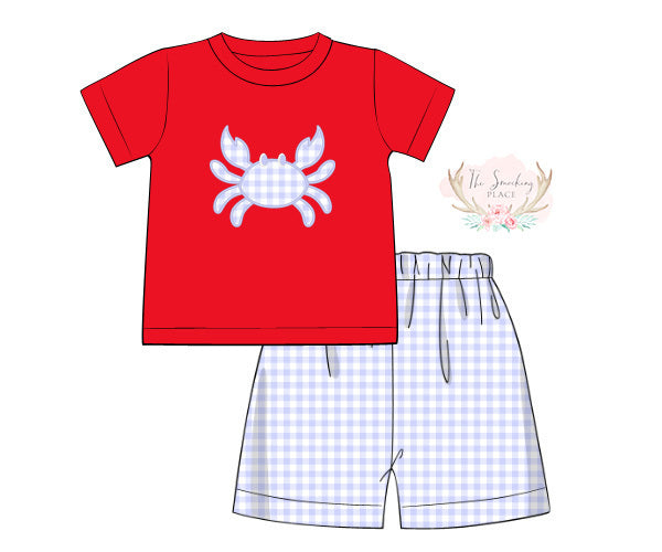 Load image into Gallery viewer, Knit Crab Applique Blue Gingham Short Set