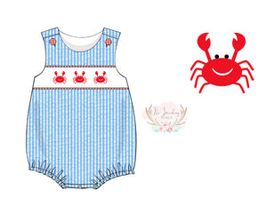 Crab Smocked Aqua Seersucker Boy Bubble