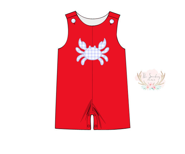 Load image into Gallery viewer, Knit Crab Applique Red Jon Jon