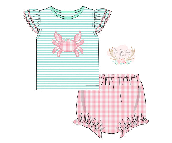 Load image into Gallery viewer, Crab Applique Pink Gingham Bloomer Set