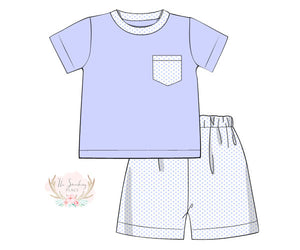 Load image into Gallery viewer, Knit Blue Bitty Dot Boy Short Set