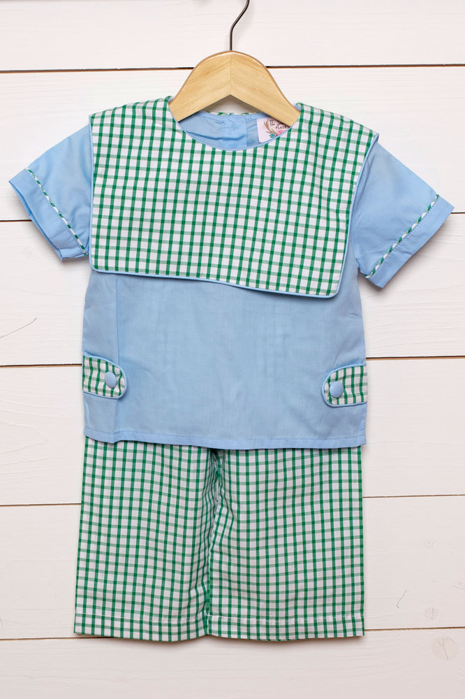 Blue Shirt Green Windowpane Bib Pant Set