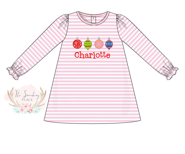 Knit Ornament Applique Pink Stripe Dress