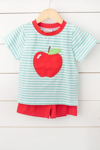 Apple Applique Mint Stripe Red Short Set