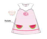 Knit Watermelon Applique Pocket Dress