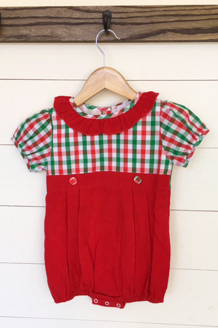 Girl Plaid Red Corduroy Ruffle Bubble