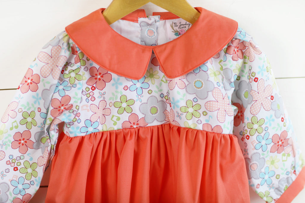 Floral Print Coral Collared Dress