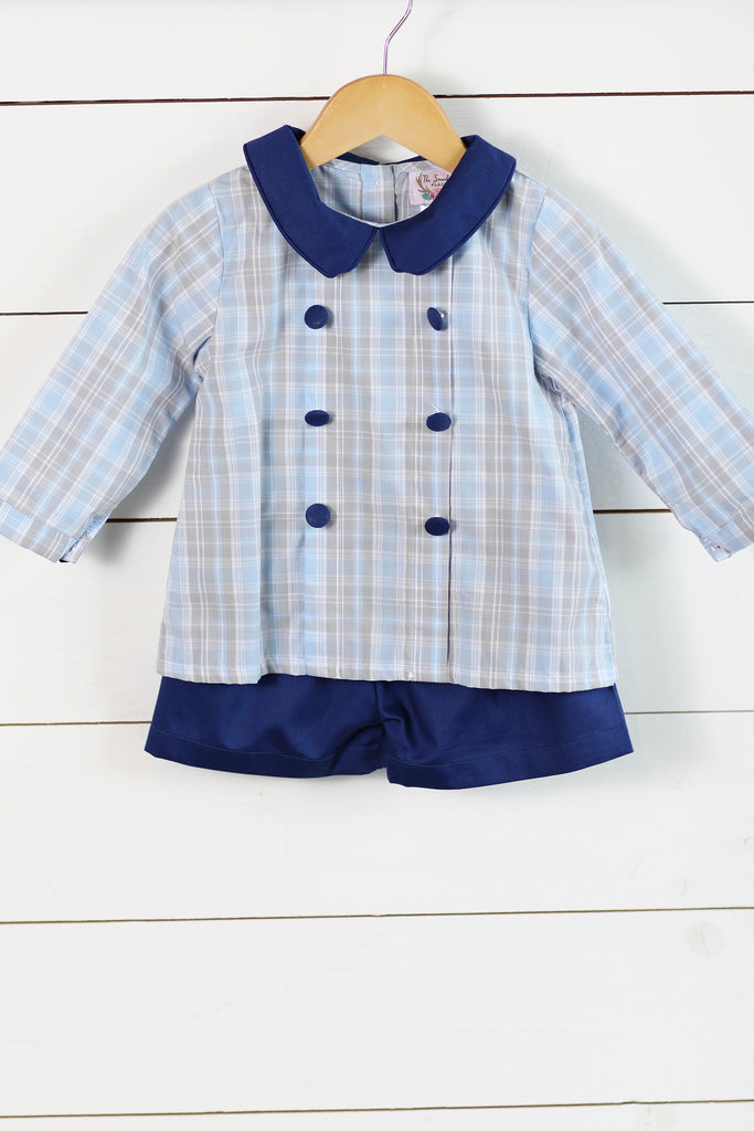 Navy Collared Blue Plaid Button Top Navy Pique Short Set