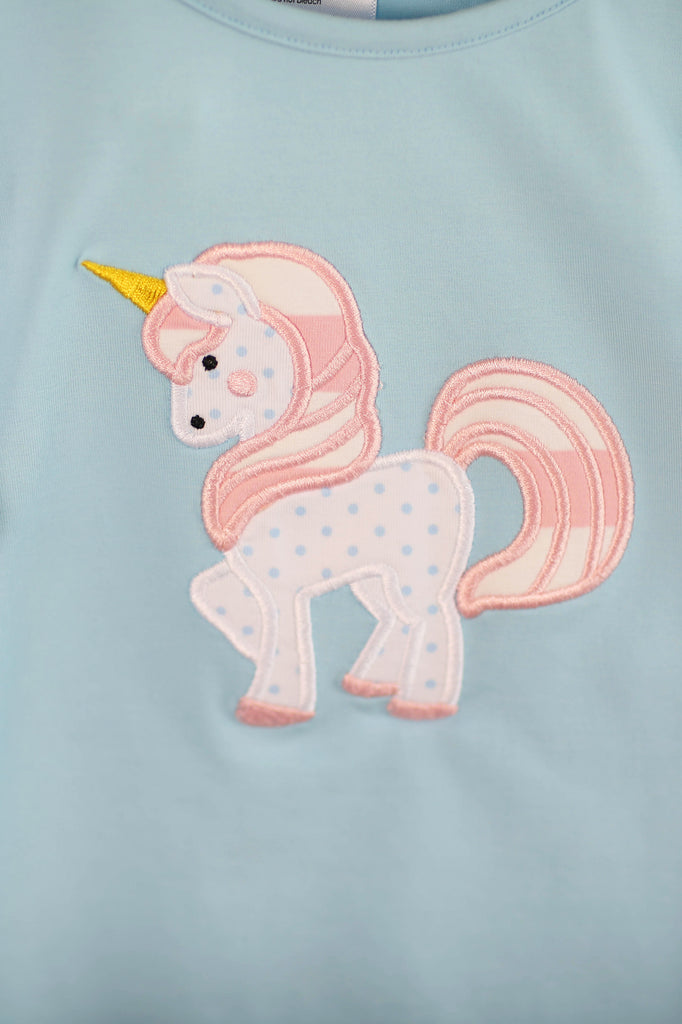 Knit Unicorn Applique Mint Shirt Pink Stripe Bubble Pant Set