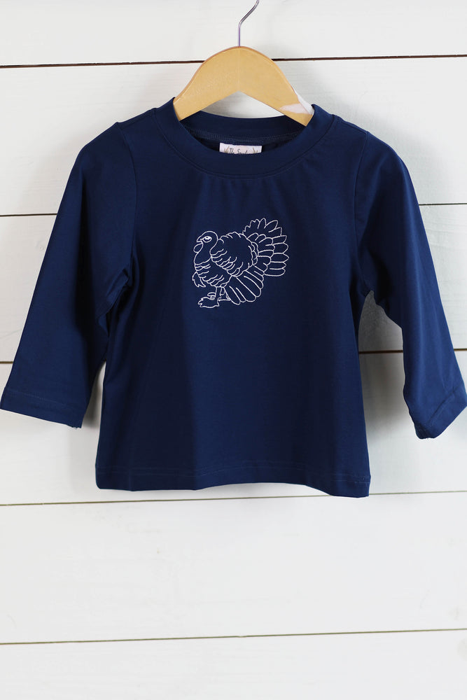 Knit Turkey Embroidered Navy Shirt