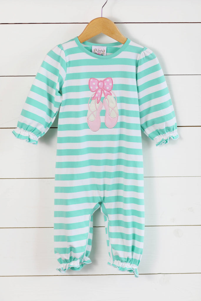 Knit Ballet Slipper Applique Mint Stripe Long Romper