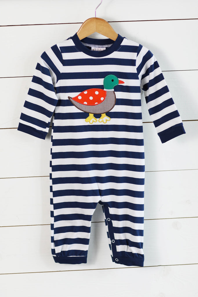 Knit Mallard Duck Applique Navy Stripe Long Romper