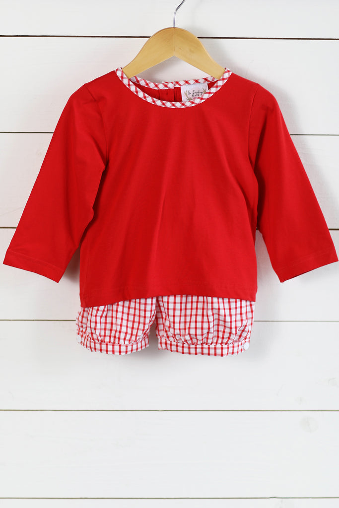 Red Knit Shirt Windowpane Banded Short Set