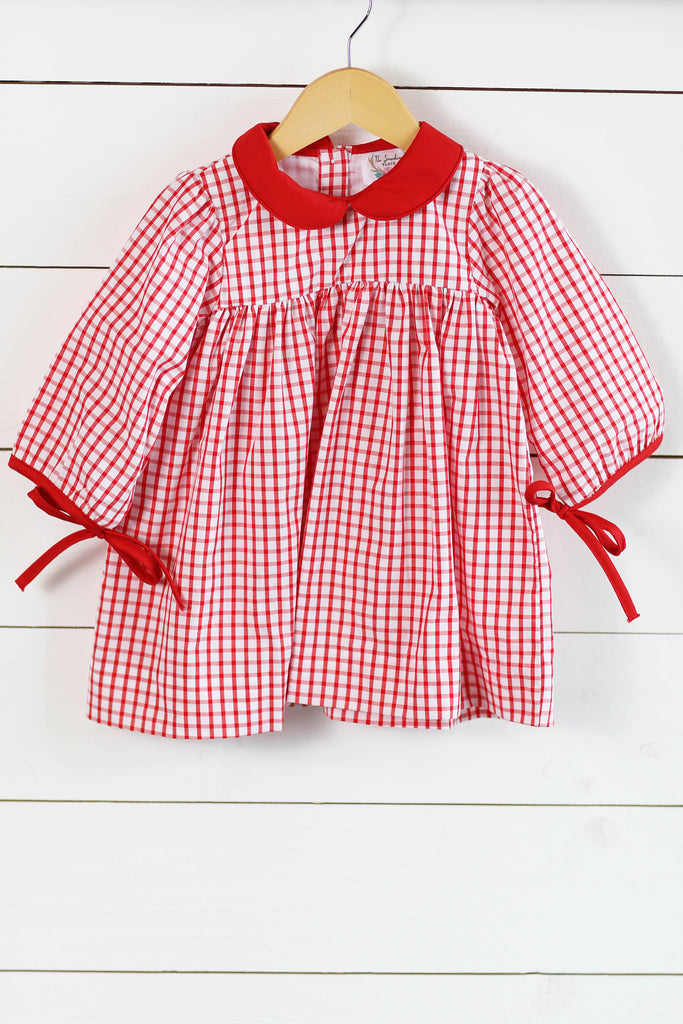 Red Collared Windowpane Dress