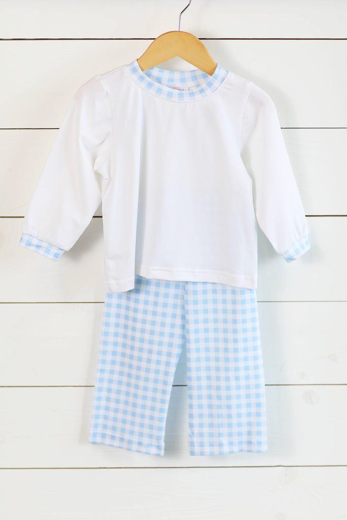 Knit White Shirt Blue Gingham Pant Set
