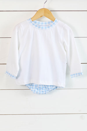 Knit White Shirt Blue Gingham Diaper Set