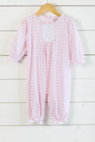 Knit Pink Gingham Long Romper