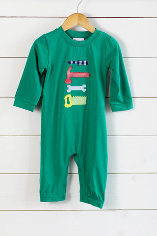 Turkey Smocked Mint Plaid Long Bubble