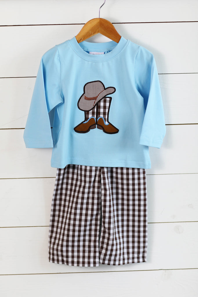 Western Applique Blue Shirt Brown Gingham Pant Set