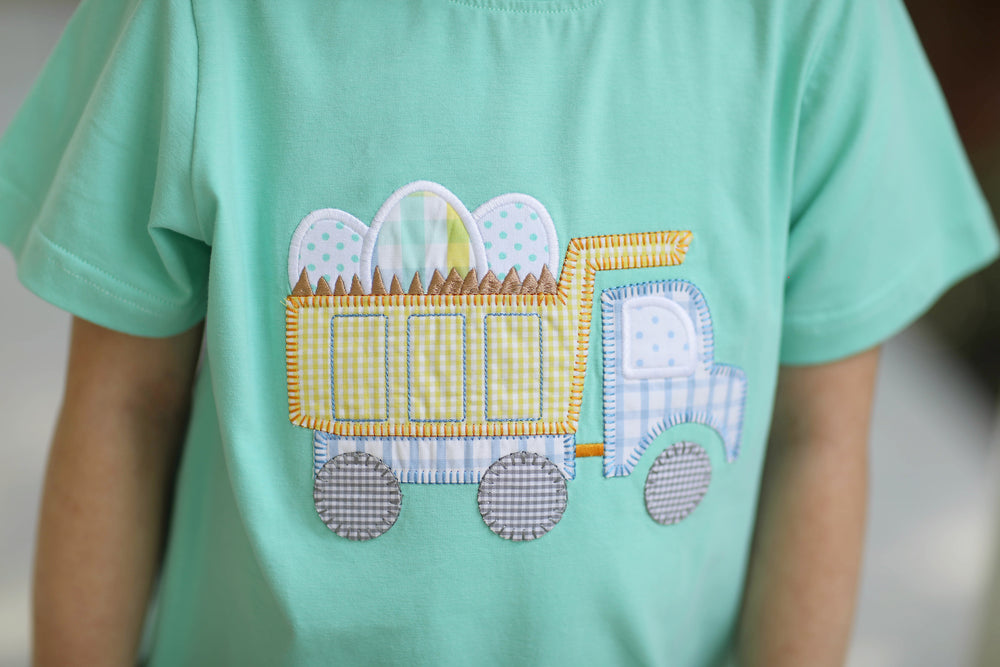 Load image into Gallery viewer, Easter Egg Dump Truck Applique Mint Shirt Yellow Gingham Short Set