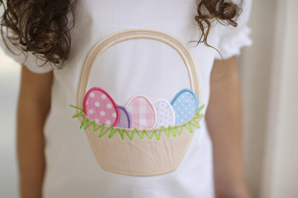 Easter Egg Basket Applique White Ruffle Shirt Pink Gingham Ruffle Short Set