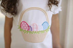 Load image into Gallery viewer, Easter Egg Basket Applique White Ruffle Shirt Pink Gingham Ruffle Short Set
