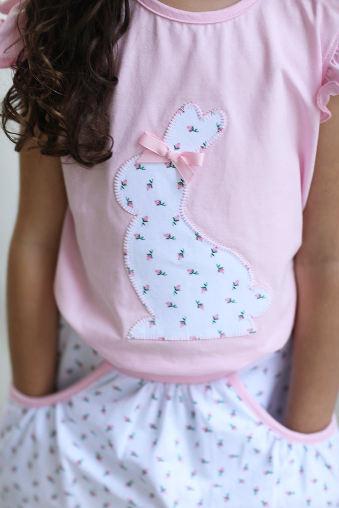 Knit Bunny Applique Pink Shirt Rose Bud Skort with Pockets
