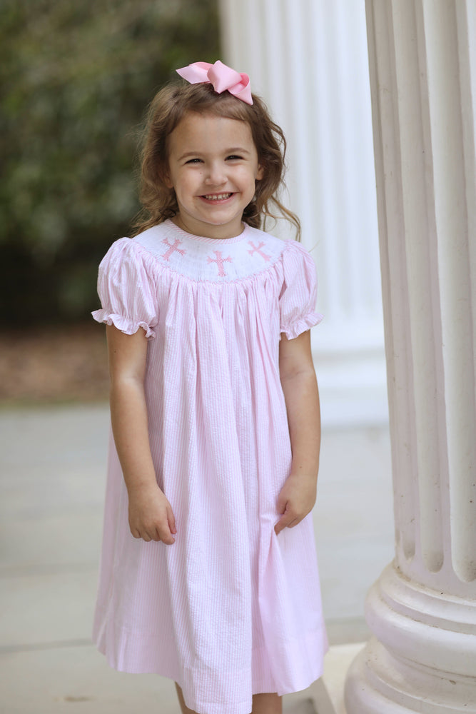 Cross Smocked Pink Seersucker Bishop Dress