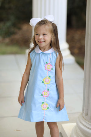 Flower Applique White Collar Blue Dress