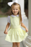 Yellow Swiss Dot Apron Style Dress with White Pique Collared Shirt