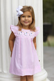 Unicorn Embroidered Pink Pleated Angel Wing Dress