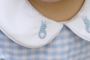 Bunny French Knot Embroidered Blue Gingham Short Set