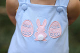 Knit Easter Applique Blue Swing Top Blue Bitty Dot Bloomer Set